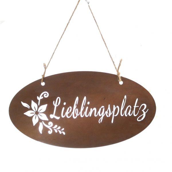"""Parts4Living Metall Schild """"Lieblingsplatz"""" zum Hängen Garten Edelrost 38x20cm"""