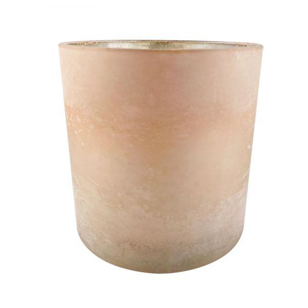 Parts4Living Glas Teelichthalter Teelichtglas Windlicht hellrosé 15x15 cm