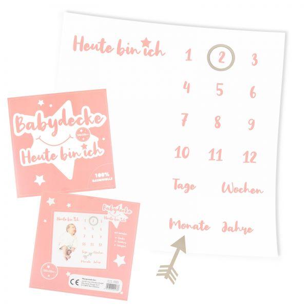 Parts4Living Meilenstein Decke Babydecke Fotodecke weiß/rosa Schrift 100x100 cm