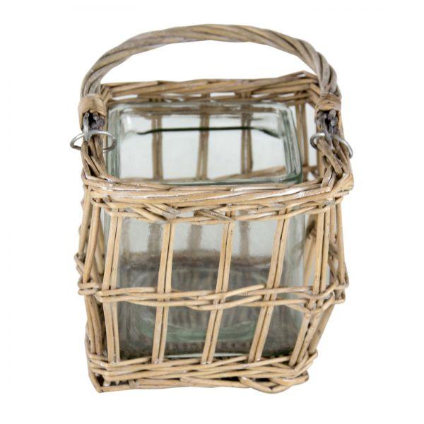 Parts4Living Weiden Windlicht Laterne Windlicht mit Glaseinsatz 15x15x12 cm