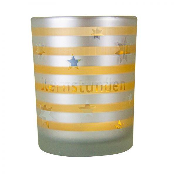 Parts4Living Glas Teelichthalter mit Sternen Teelichtglas weiß gold 8,8x10 cm