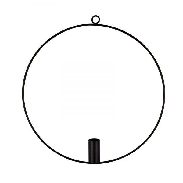 Parts4Living Metall Ring mit Kerzenhalter zum Hängen Skandi schwarz 30x31,5x5 cm