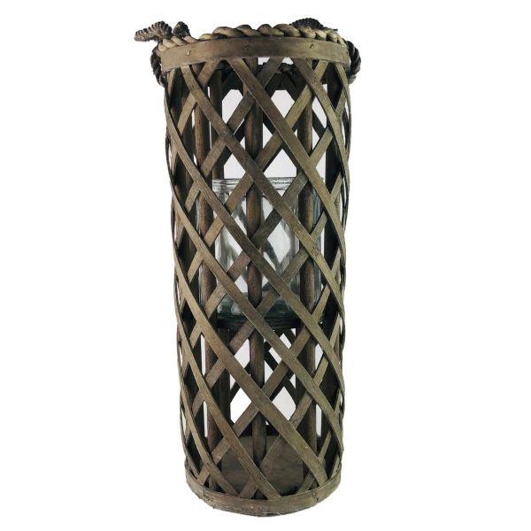 Parts4Living Holz Laterne Holzstreifen Windlicht Glaseinsatz rustikal 16 x 40 cm