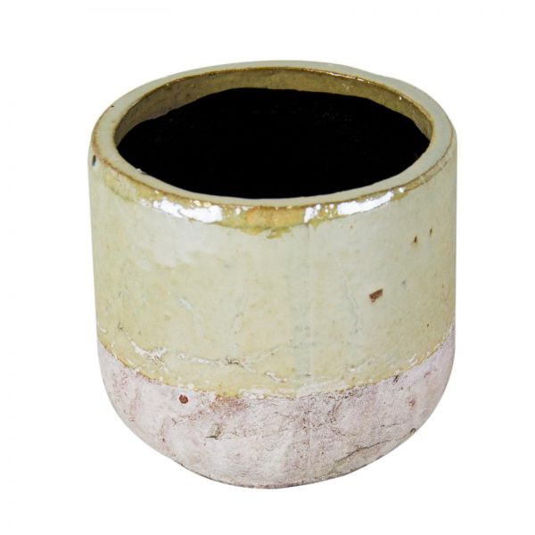 Parts4Living Keramik Übertopf Blumentopf Pflanzgefäß creme weiß rund 12,5x11,5cm