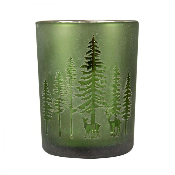 Parts4Living Glas Teelichthalter mit Wald- und Rentiermotiv grün 7,3x8 cm