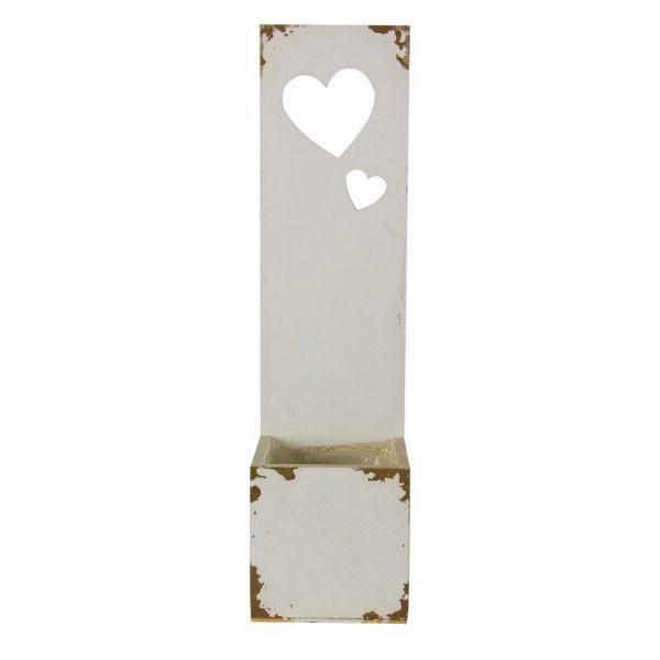 Parts4Living Antikholz-Kiste weiß mit Herzen an der Rückwand Wanddekoration