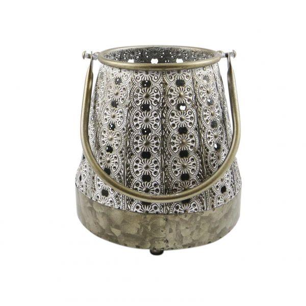 Parts4Living Laterne mit Ornamenten aus Metall im orientalischen Stil 18x18x18cm