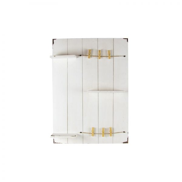 Parts4Living Antikholz Wand mit 3 Regalen und Klammern Wandregal weiß 70x50x9 cm