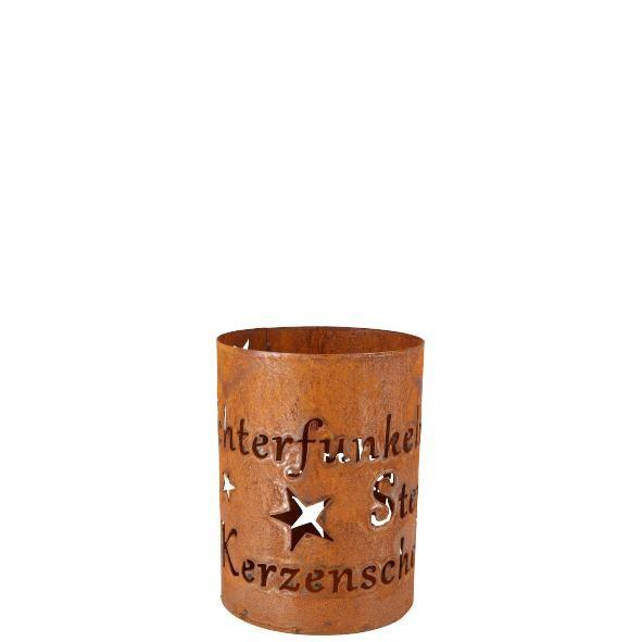 Parts4Living Zement Windlicht mit Ornamenten aus Metall Kerzenhalter 17x23 cm
