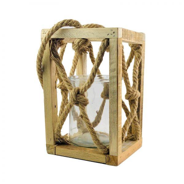 Parts4Living Holzlaterne natur Windlicht Glaseinsatz Kerzenständer 17x17x27 cm