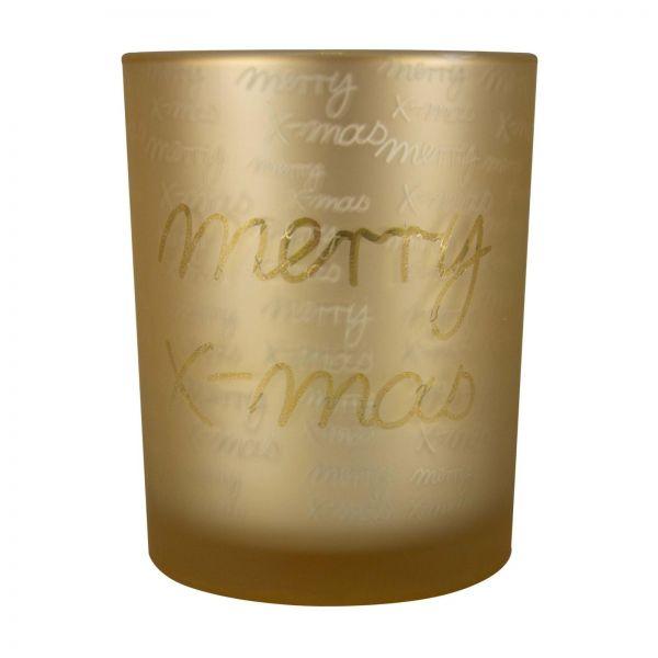 """Parts4Living Glas Teelichthalter """"Merry X-Mas"""" Teelichtglas gold 8,8x10 cm"""