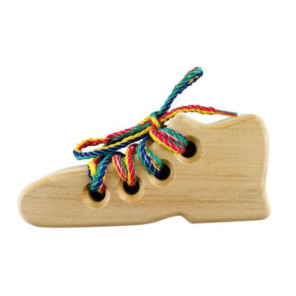 Parts4Living Holzschuh Schnürsenkel binden Lernspielzeug 6x14,5 cm