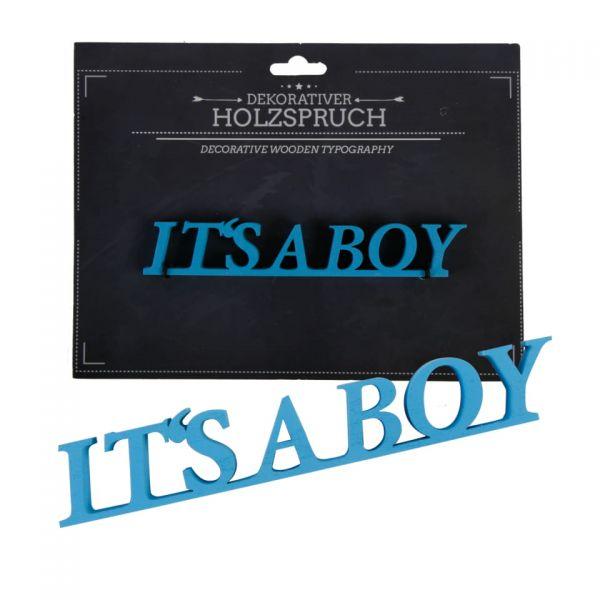 """Parts4living Holzschrift """"It's a boy"""" Schriftzug Holzspruch Wanddeko blau 3x17cm"""