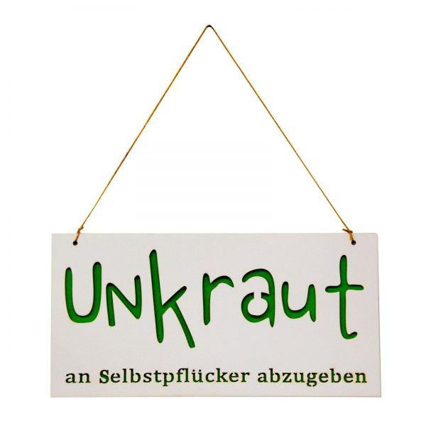 """Parts4Living Holz/Filz-Türschild """"Unkraut an Selbstpflücker abzugeben"""" 30 x 15cm"""