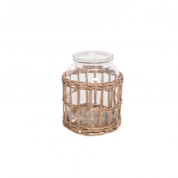 Parts4Living Glas Vase im Weidenkorb Blumenvase im Boho Stil Dekovase 18x22cm