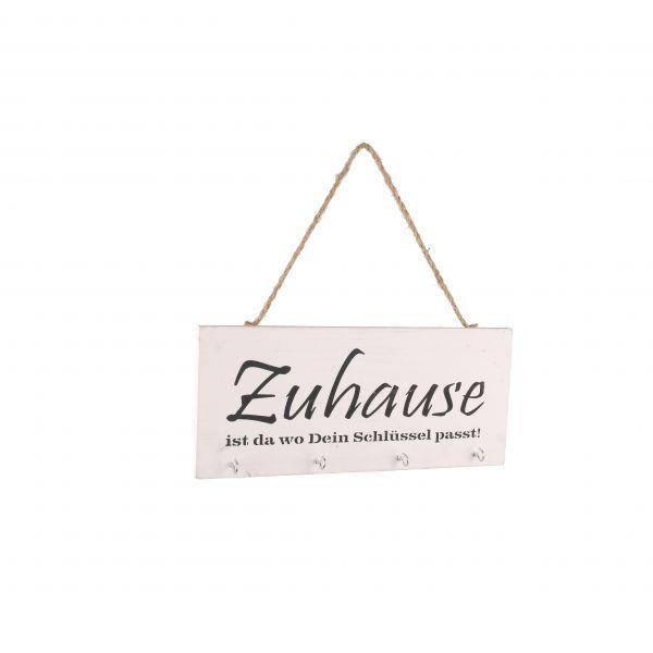 """Parts4Living Kistenholz Schild """"Zuhause"""" mit 4 Haken Schlüsselbrett weiß 30x13cm"""