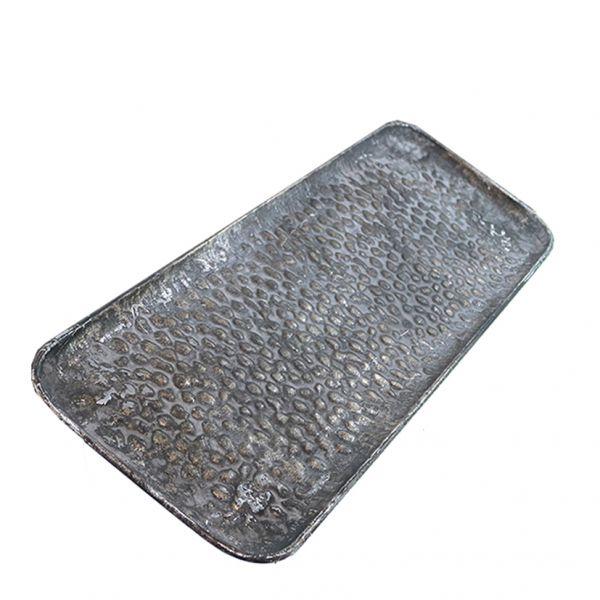 Parts4Living Metall Tablett Dekotablett Dekoschale silber gebürstet 53x18x2,5cm