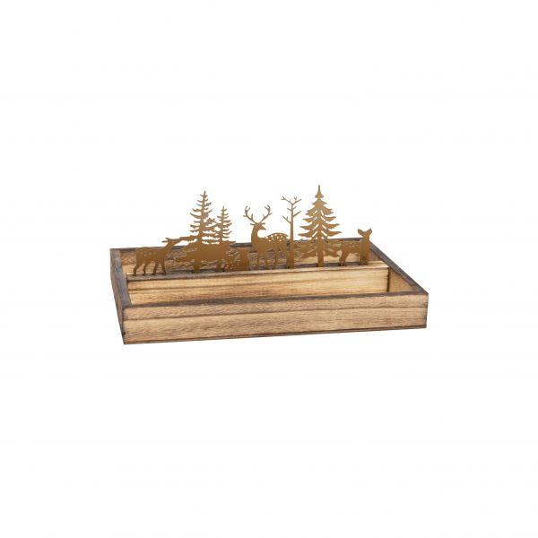 Parts4Living Gesteckunterlage Holz und Metall Hirsche und Tannen 25x16x10,5 cm
