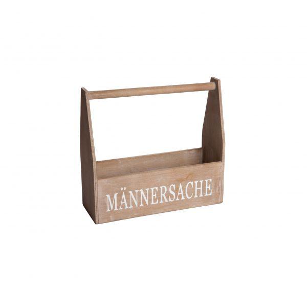 """Parts4Living Holzkorb für Getränke """"Männersache"""" Flaschenkorb braun 35x12x32 cm"""