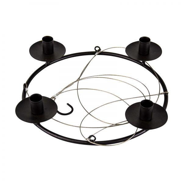 Parts4Living Metall Ring mit 4 Stabkerzenhaltern Adventskranz zum Hängen 37x7x74cm